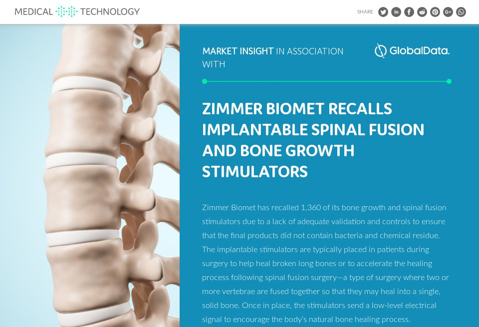 Zimmer Biomet recalls implantable spinal fusion and bone
