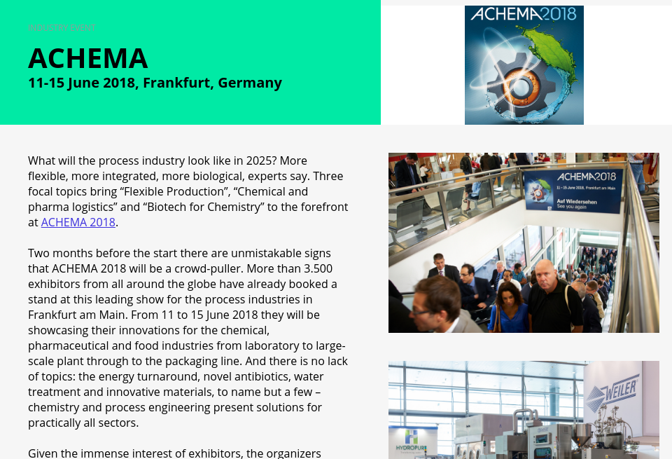 Event: Achema - Medical Technology | Issue 7 | May 2018